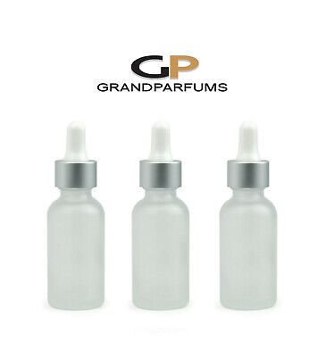 3 Pcs 30ml Frosted Bottle w/ Matte Silver/White Dropper Grand Parfums 1 Oz Glass