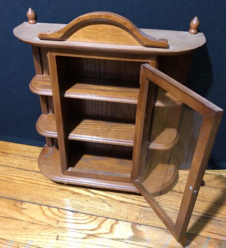 VINTAGE WOODEN WALL MOUNTABLE CURIO CABINET GLASS DOOR WOOD SHELVES