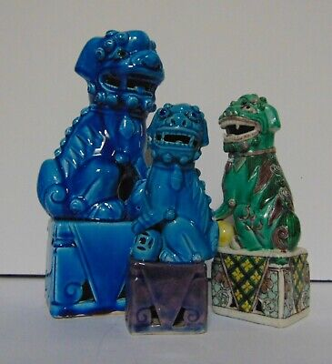 FOO DOGS (3) - TURQUOISE & GREEN - MALE & FEMALE