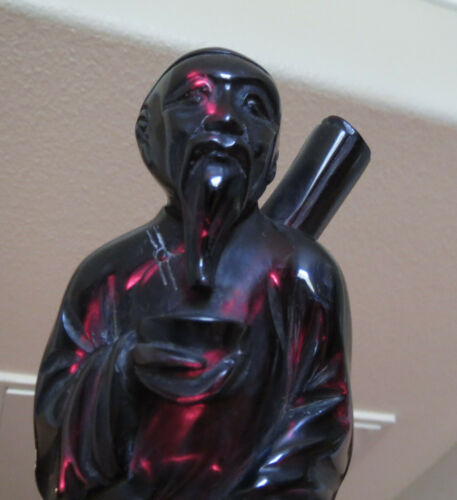 Old Chinese Dark Cherry Amber Bakelite Carved Figure Painter
