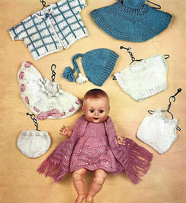 DOLLS CLOTHES KNITTING PATTERN 13 INCH TINY TEARS SIZE DOLL (981)