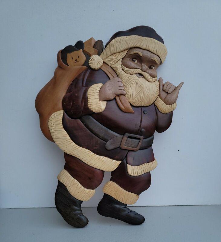 "Islandwood Collection Mixed Wood Santa Clause Wall Hanging 11""  Folk Art"