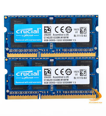 Crucial 16GB 2x 8GB PC3-10600 RAM For MacBook Pro 13