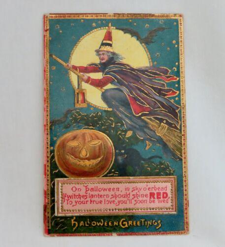 Vintage Halloween Embossed Postcard Witch on Broomstick - 80636