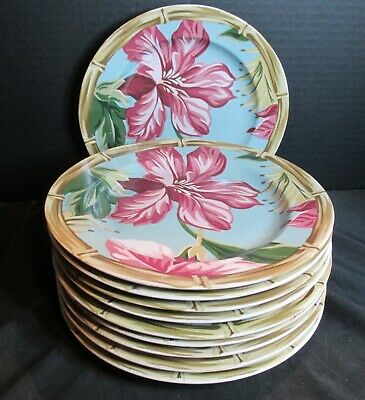 222 Fifth Avenue Hibiscus Bamboo Edge Pink Flowers 10 Salad Plates 8 1/4