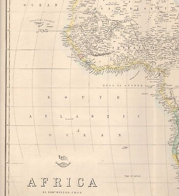 1863  LARGE ANTIQUE MAP - DISPATCH ATLAS- AFRICA