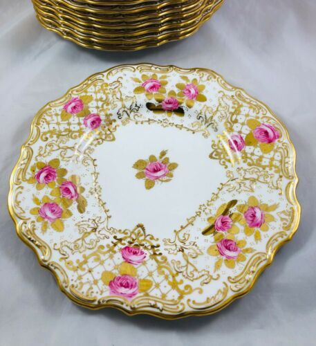 Copeland Gilman Collamore NY Dinner Plates Gold Trim Pink Roses Scalloped Set-12