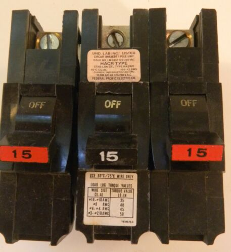 Lot 3 Federal Pacific FPE 1 Pole 15 Amp Type NASWD STAB-LOK Circuit Breakers