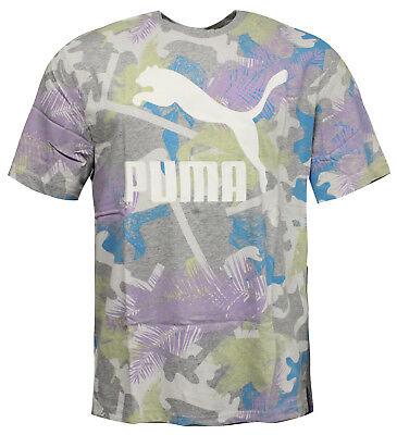 Puma Summer Tropical All Over Print Mens T-Shirt Top Grey 575133 04 RW83