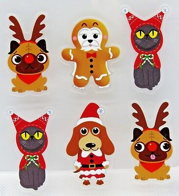 Dogs Cats Christmas Costumes Basset Hound Pug Santa Reindeer RC Clear Stickers - Cat Santa Costume