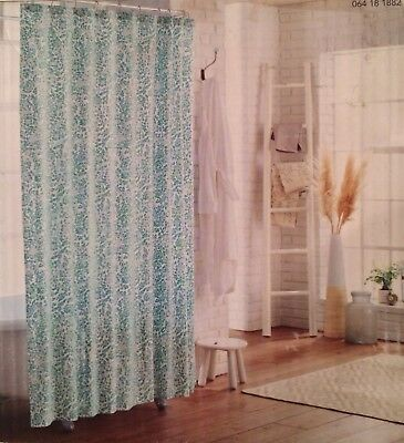NEW Threshold Shower Curtain Green Botanical Floral White