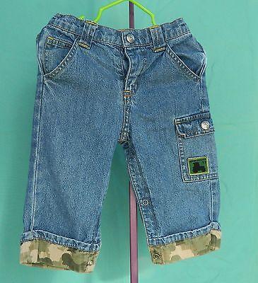 John Deere 100% Cotton Denim Jeans w/Camo Cuff Size 12 Months