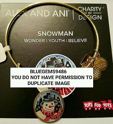 Alex and Ani Snowman Charm Bangle Yellow Gold - Discontinued/Rare