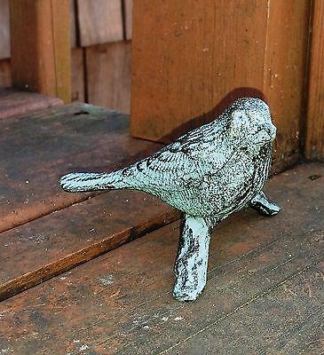 Distressed Green Bird On A Stick Cast Iron Yard Art Garden Decorative Birdie