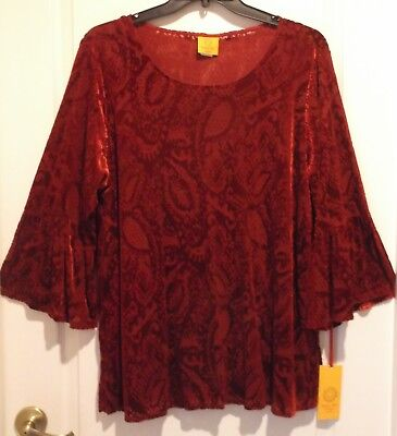 Ruby Bell - Ruby Rd Burnout Velour Top with Bell Sleeves Size 2X NEW $68 retail