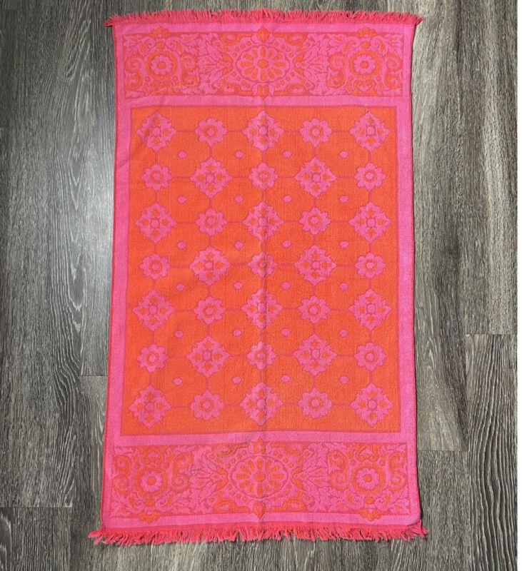 VTG St. Marys Bath Towel Pink Orange Retro Mod Floral Fringe 100% Cotton USA