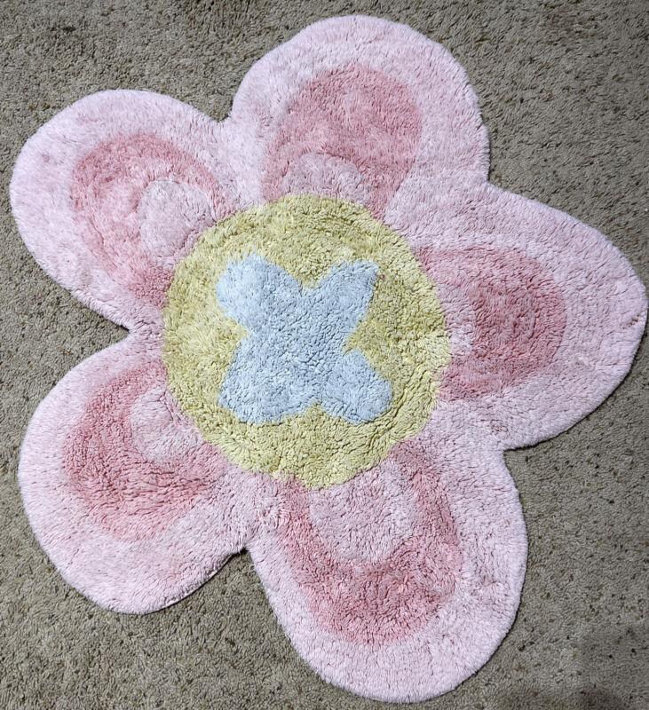 "Vinatge Pottery Barn Flower Shag Rug 30"" Pink Petals w/ Yellow Blue"