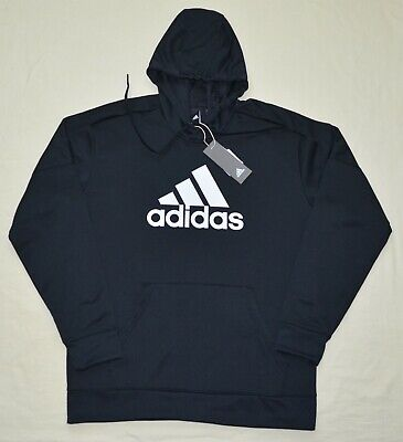 New adidas L XL 2XL Mens Team Issue Pullover Fleece Hoodie sweatshirt Black Bos