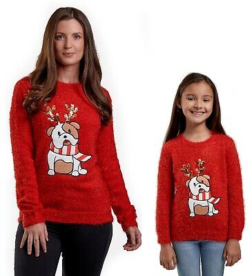 Christmas Jumpers Red Mums & Daughters Matching Cute Bull Dog Xmas Mini Me Girl ()