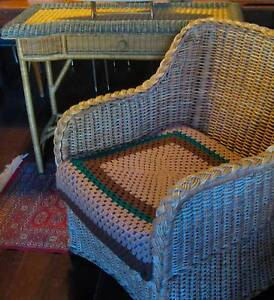 BARGAIN Both Lounge / Garden Cane Chair & Side Hall Lounge Table Hilton Fremantle Area Preview