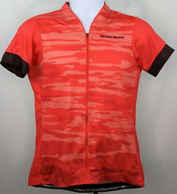 PEARL IZUMI Cycling Jersey Women Large Full-Zip Red Camouflage Style 19221701