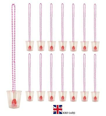 12 x WILLY SHOT GLASS GLASSES Hen Party Night Do Accessories Necklace Neon (Shot Glass Kostüme)