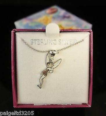 Disney Fairies Sterling Silver Tinkerbell Charm Pendant W...