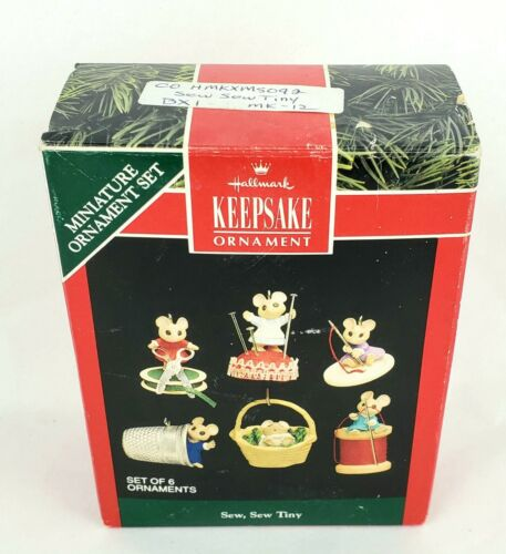 Hallmark Sew, Sew Tiny Miniature Mouse Christmas Ornaments 1992-Set of 6