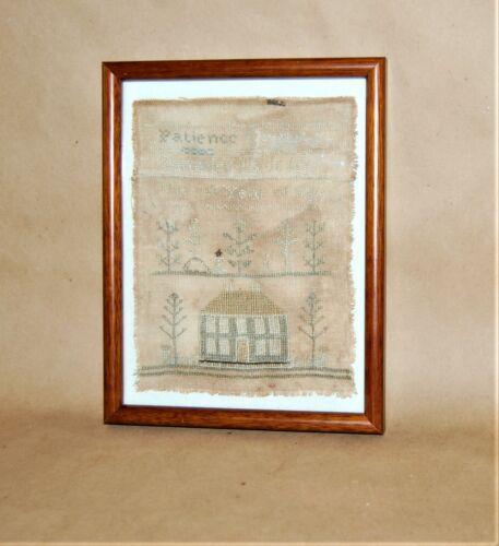 Antique American Embroidered Silk On Linen Sampler Patience Davis 1820 - 30