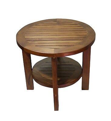 Ala Teak Indoor Outdoor Patio Garden Yard Bath Coffee Side Round Table ()