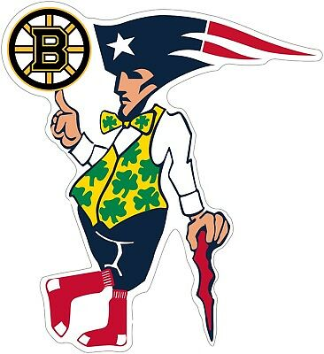 "Home Decoration - Boston Guy Sports Teams Logo Mash Up Vinyl Decal - You Choose Size 3""-28"""
