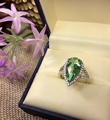 925 Sterling Silver Pear Cut  Green CZ Halo Gemstone Ring SZ-6 Fine Jewelry