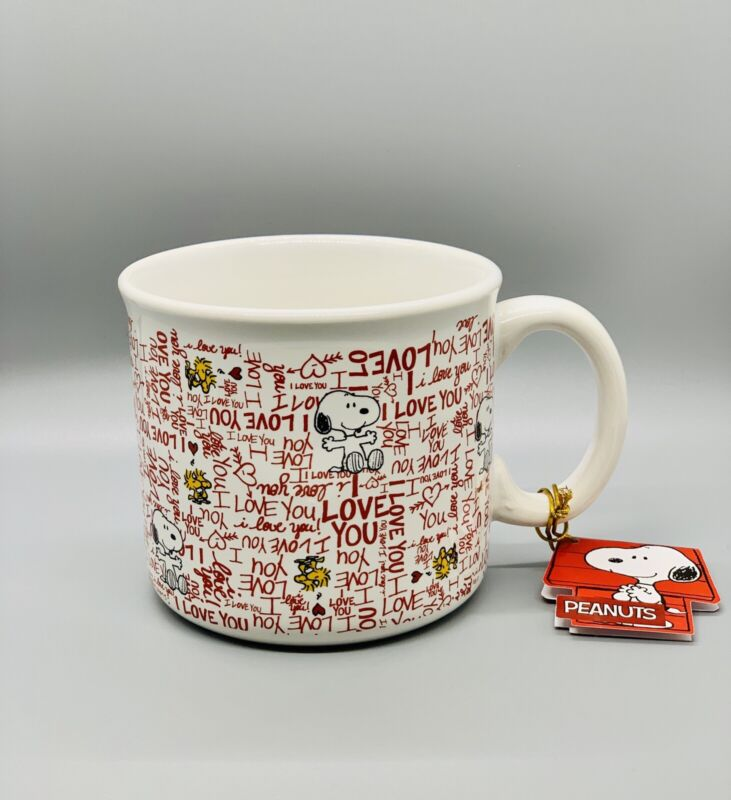 Snoopy Woodstock Mug I Love You Hearts Peanuts Coffee Stoneware