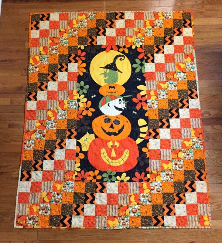 "New Handmade Quilt Blanket Throw 100% Cotton  Halloween Pumpkins Spooky 50""X 64"""