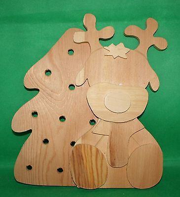 Dekoration Basteln Holz - Elch mit Tannenbaum für 10erLK  28 cm h 26 cm br Holz