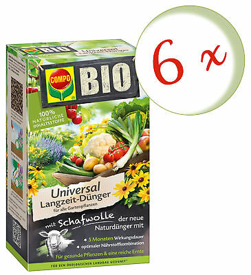 Savings Set: 6 x Compo Organic Universal Long-Term Fertilizer with Wool, 4 KG