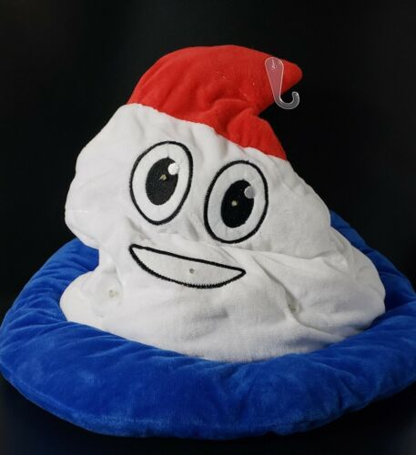 Red White Blue Emoji Poop Hat LED Lights Flashing Blinking Halloween Costume Big