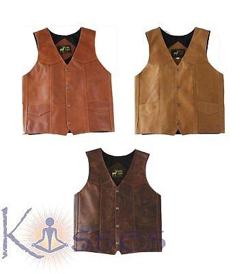 NEW Men's Western Leather Vest Genuine Cowhide Outback Biker Snap Cowboy Mexico - Vest Cowboy