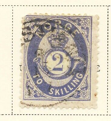 Norway 1874 2s Definitive Posthorn Stamp #17 CV $40 Used FREE Ship after 1st Lot