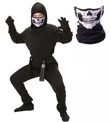 Boys Samurai Costume (Boys Kids Ninja Fancy Dress Halloween Costume Samurai Karate + Skull Snood)