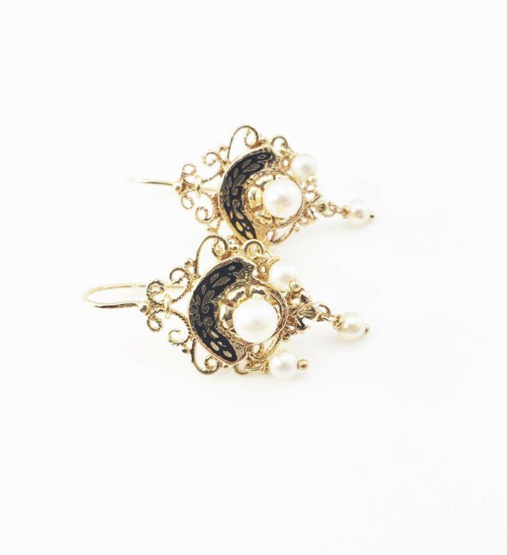 Vintage 14 Karat Yellow Gold Filigree and Pearl Earrings #7321