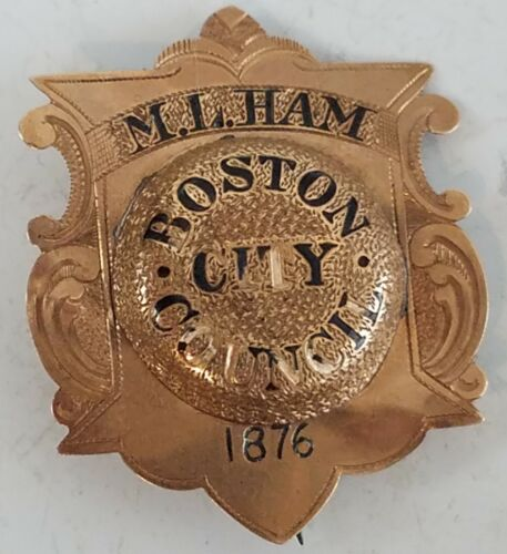 1876 BOSTON CITY COUNCIL Pin Badge Original Martin Luther Ham 14k Gold Rare