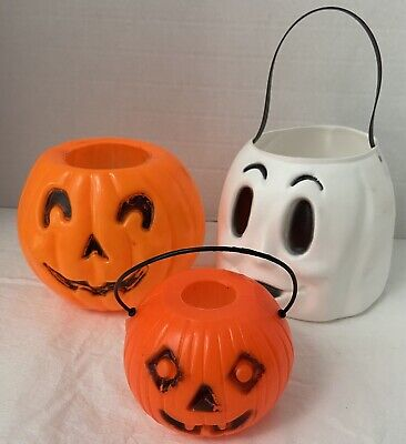 3 Vintage Halloween TRICK OR TREAT BUCKETS Jack o Lantern Pumpkin Ghost