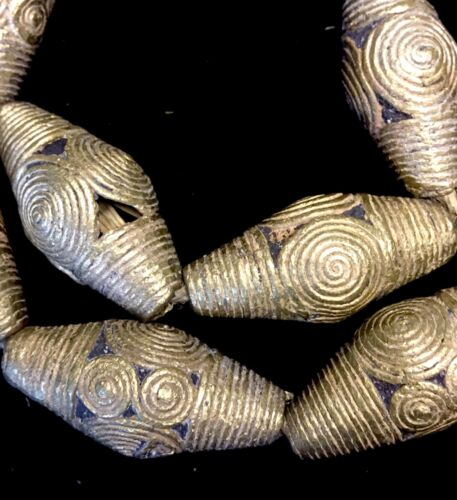 """Strand of 17 African Ashanti Lost Wax Brass Beads from Ghana 26"""""""