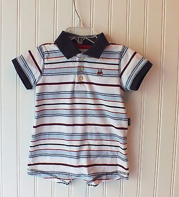 Carter's Brand Infant Boys Polo Style Striped Body Suit - 6 months - EUC - Carters Striped Body