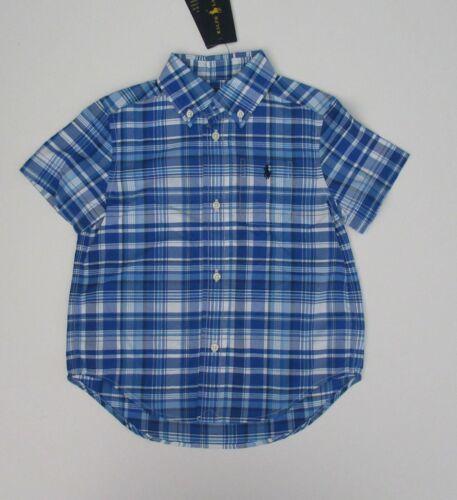 NWT Ralph Lauren Boys SS Performance Poplin Blue Plaid Button Down Shirt 3/3t