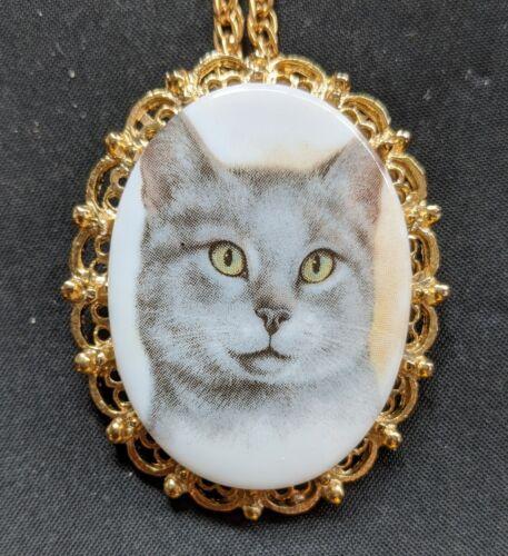 Vintage Porcelain Gray Cat Necklace Cameo Pendant Pet Animal Jewelry