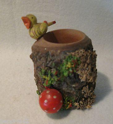 ++ alter Behälter für Zahnstocher / Spender aus Holz mit Vogel und Pilz  ++
