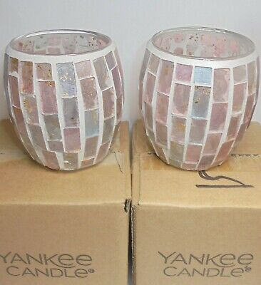 Yankee Candle Set of 2 ROMANCE MOSAIC Votive Holders - New in Boxes