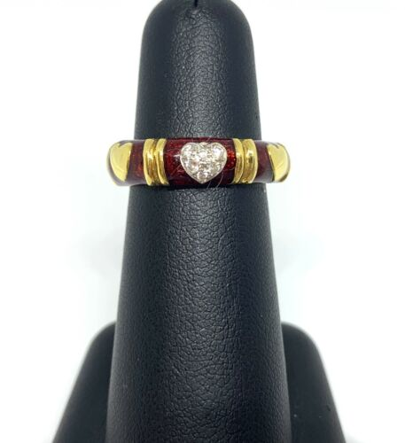Hidalgo Red Enamel Diamond Heart 18K Gold Eternity Band
